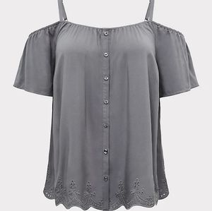 Torrid Gray Challis Cold Shoulder Top